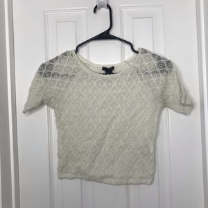 Forever 21 White Lace Crop Top